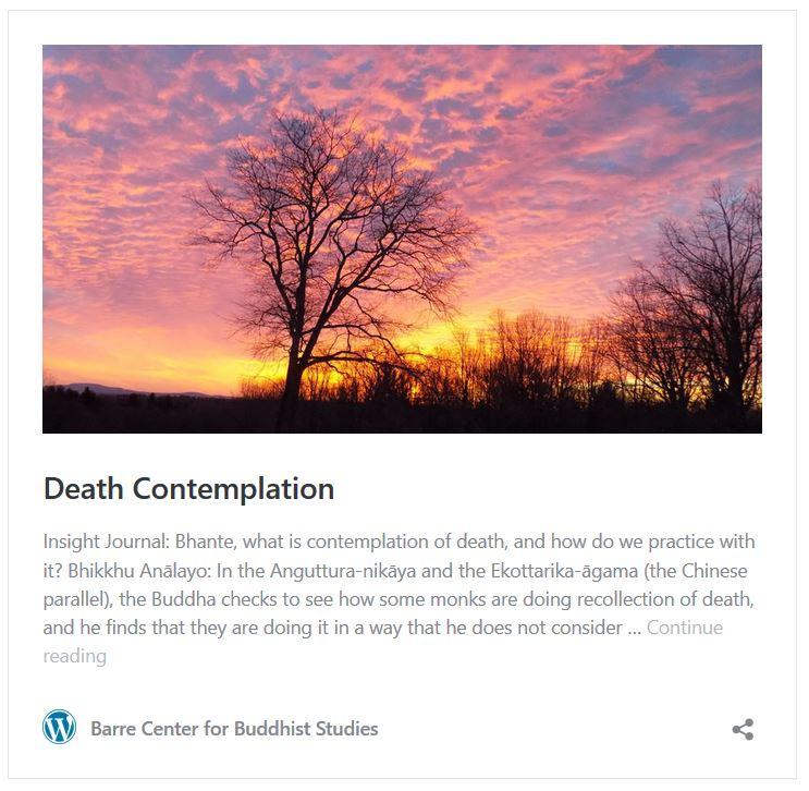 Ven. Analayo Bhikkhu on maraṇasati (death meditation)