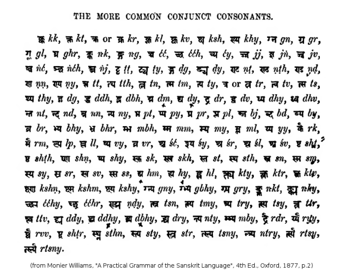 Common Conjuncts from Monier Williams