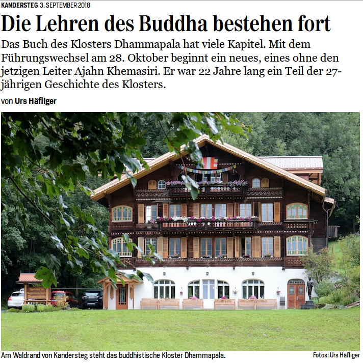 German article on Ajahn Khemasiri and Wat Dhammapala (Kandersteg)