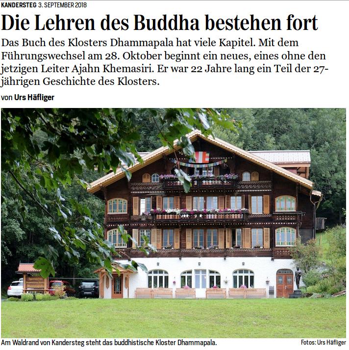 German article on Ajahn Khemasiri and Wat Dhammapala (Kandersteg)